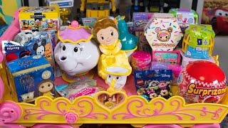 HUGE Beauty and the Beast Surprise Toys Tea Party Blind Bags Disney Princess Girls Kinder Playtime