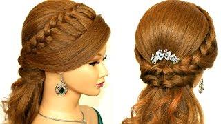 Прическа на каждый день с плетением для длинных волос.