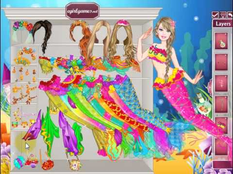 Barbie Mermaid Princess Dress Up online girl game - YouTube