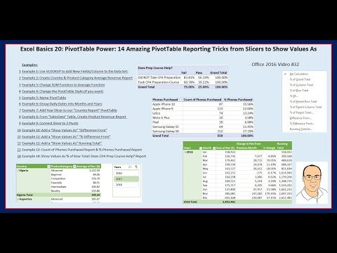 Excel Basics 20: PivotTable Power: 14 Amazing PivotTable Reporting Tricks: Slicers to Show Values As