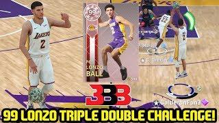 INSANE TRIPLE DOUBLE CHALLENGE w/ PINK DIAMOND LONZO BALL! AT THE BUZZER? NBA 2K18 MYTEAM GAMEPLAY