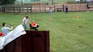 Blindfolded Wheelbarrow Racing At Hillbilly Olympics