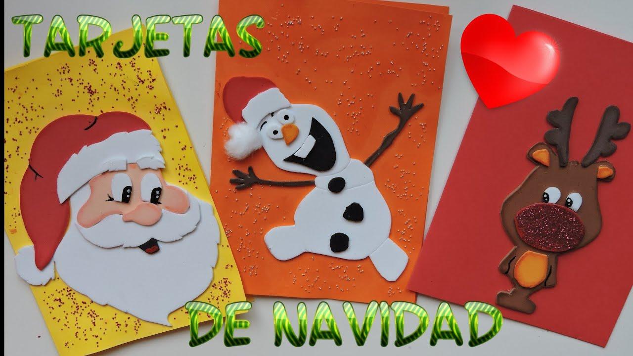 Tarjetas de Navidad de Goma Eva o Foamy Tarjetas Navideas Diy
