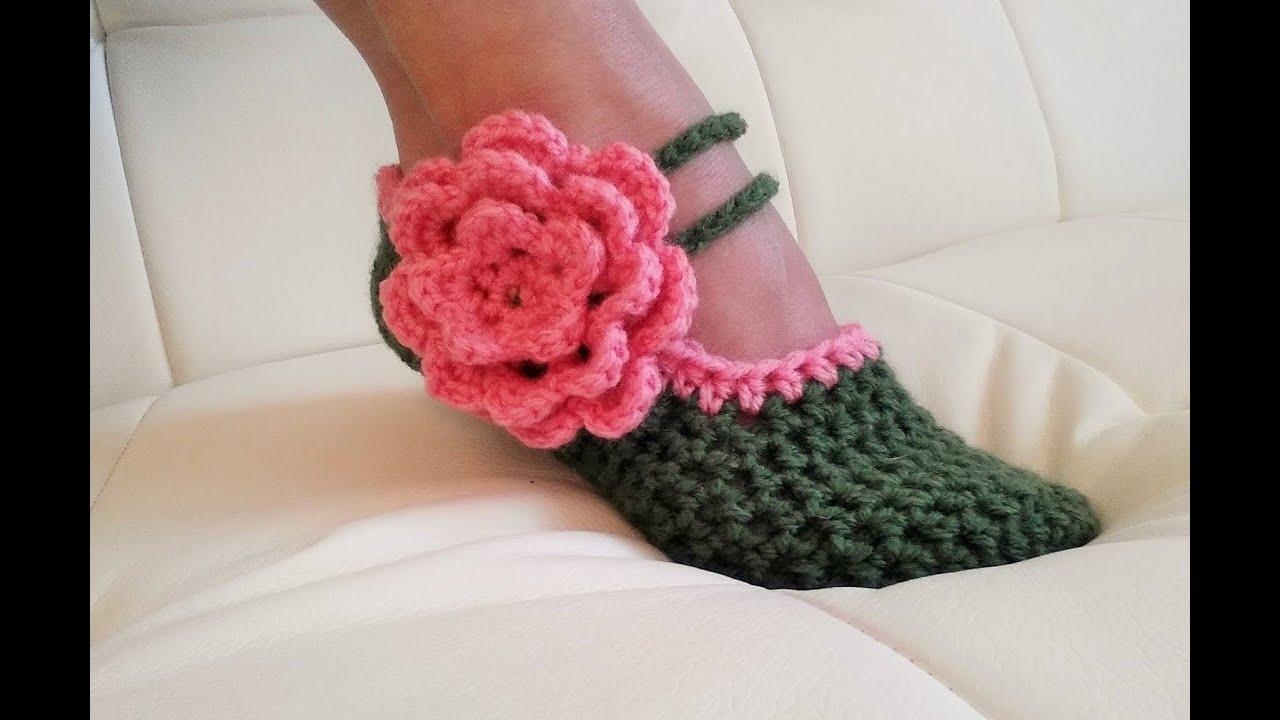 Crochet Glamas Fancy Mary Jane Slippers Youtube