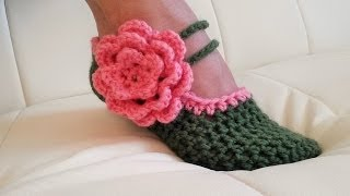 Repeat youtube video Crochet Glama's Fancy Mary Jane Slippers
