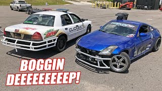 Drag Racing Redneck *ATTEMPTS* Tandem Drifting With a 900 Horsepower Cop Car!