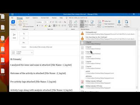 How to insert attachments in body of the mail | outlook | FunTalk360