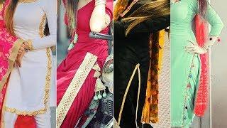 Latest Plain Salwar Suit Design Collection /contrast dupatta suit /Punjabi Dresses Design For Girls
