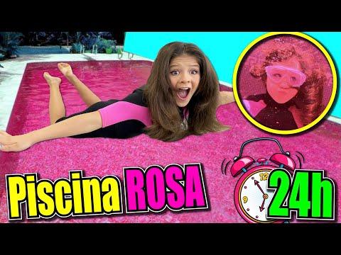 💦¡¡24 HORAS En La PISCINA ROSA!! 🎀PASO UN DÍA En LA ALBERCA ROSA  ✨ PISCINA Por COLORES CHALLENGE
