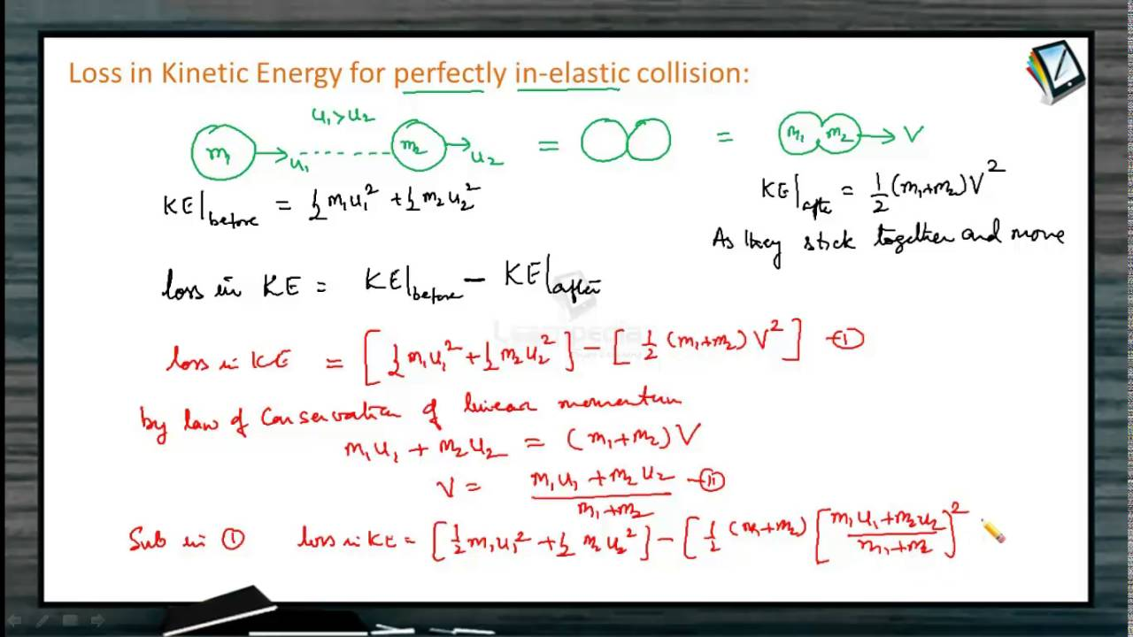 3 Loss In Kinetic Energy For Perfectly Inelastic Collision Youtube