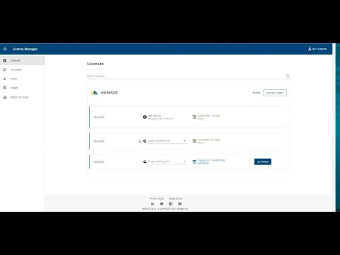 WorksOS Tutorial - License Manager