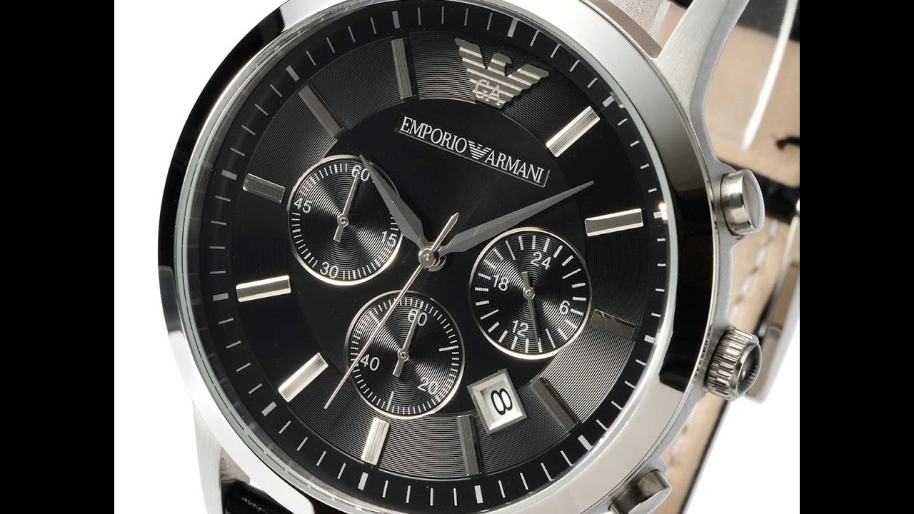 d45d239b2d9e EMPORIO ARMANI AR2447 MENS WATCH CLASSIC CHRONO BLACK LEATHER REVIEW アルマーニ  ブラック レザー レビュー メンズ - YouTube