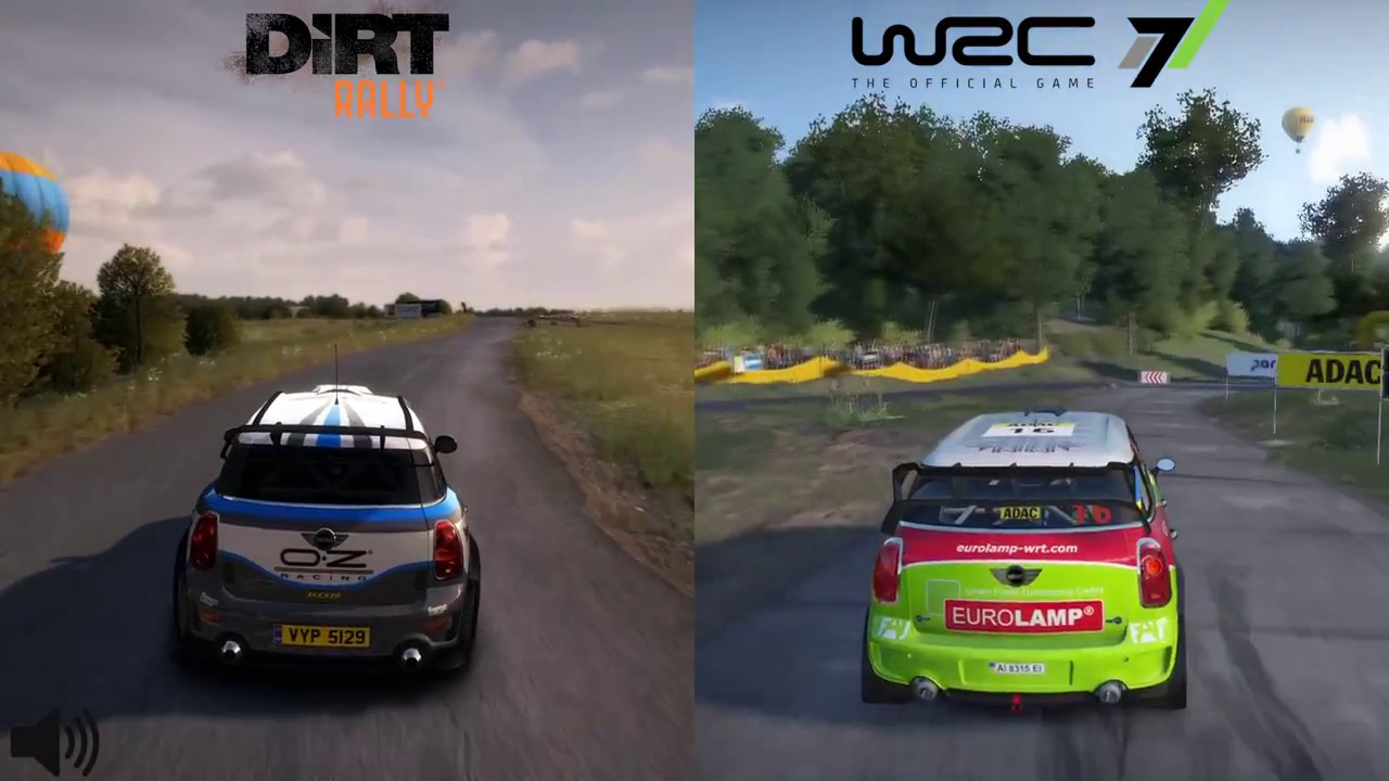 wrc 7 vs dirt rally comparison germany mini john cooper works wrc youtube. Black Bedroom Furniture Sets. Home Design Ideas