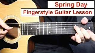 BTS - Spring Day | Fingerstyle Guitar Lesson (Tutorial) How to play Fingerstyle