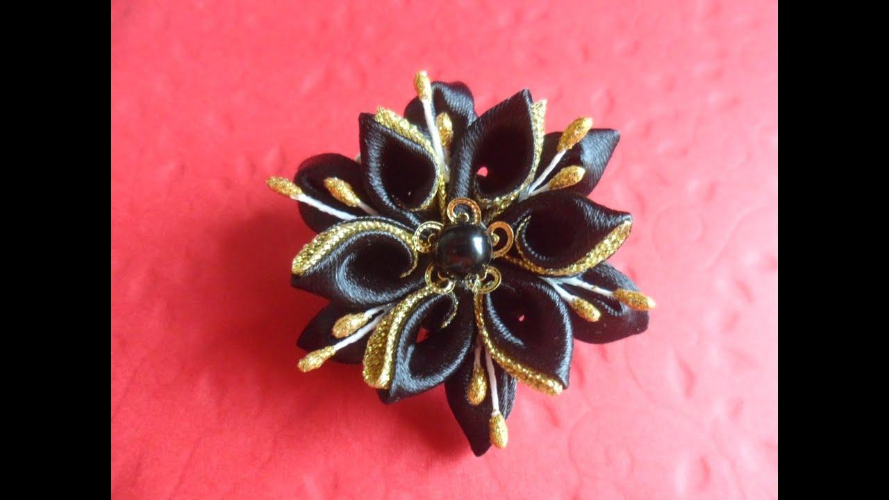 Японские цветы канзаши мастер класс своими руками #14