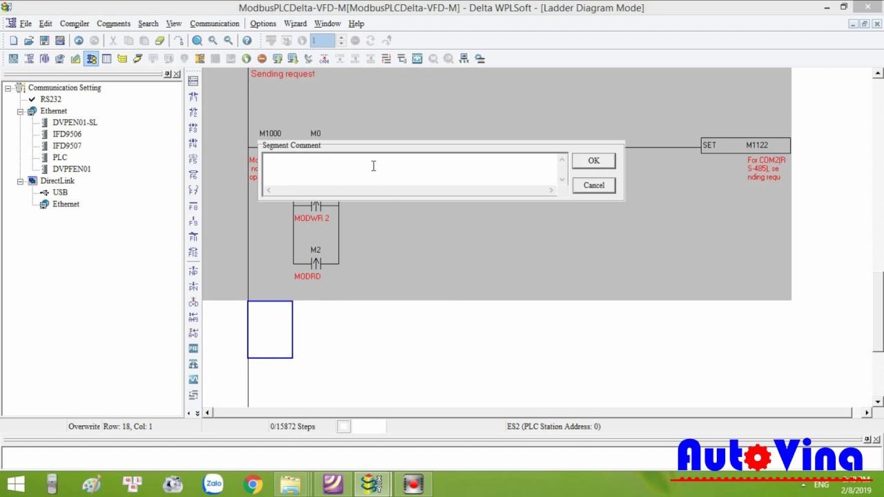 Truyền thông Modbus PLC Delta với biến tần Delta VFD-M