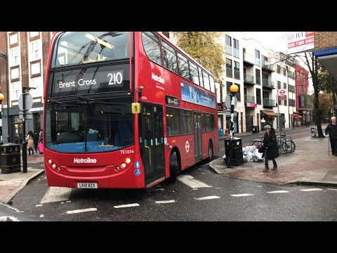 *Full Journey* London Bus Route 210 (Brent Cross to Finsbury Park) Metroline TE1074 Enviro 400