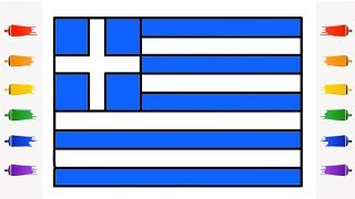 How To Draw Greece Flag for Kids || Little Channel || How to Draw the Greek flag Learn