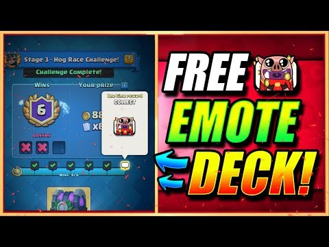 BEST 6 WIN FREE EMOTE CHALLENGE DECK - FIRST TRY!! HOG RACE! - Clash Royale