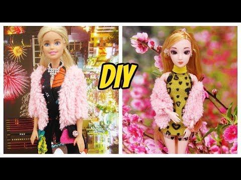 How To Make Barbie Doll Jacket / Cách May áo Khoác đơn Giản Cho Búp Bê / Ami DIY