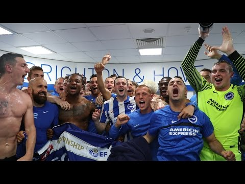 BRIGHTON & HOVE ALBION DRESSING ROOM CELEBRATIONS