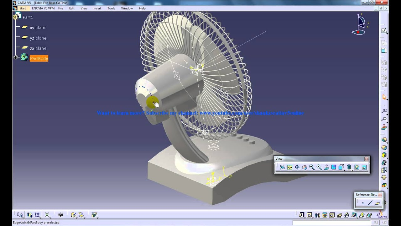Catia V5 Tutorials P6 How To Create A Table Fan Product