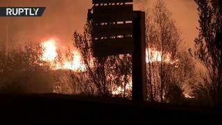 Крупный пожар уничтожил лагерь беженцев во Франции