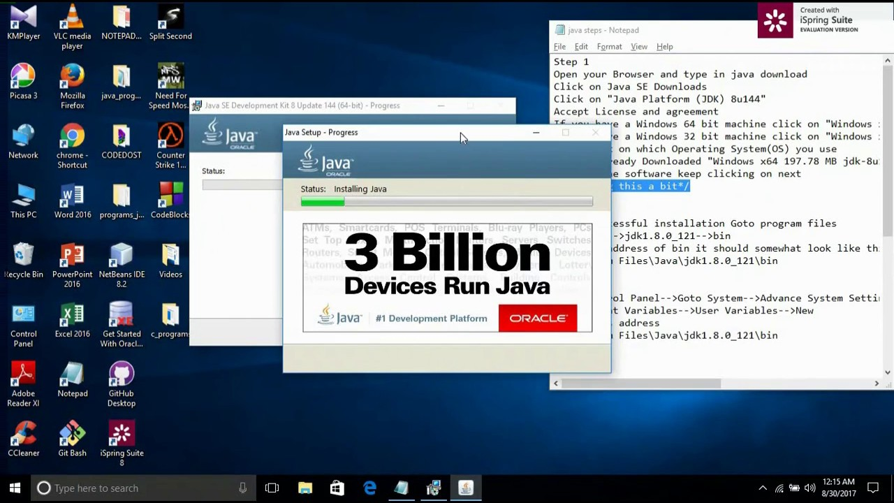 How to Install Java JDK on Windows 10/8/7 + Set Java Path + Run Java  program on Windows using cmd