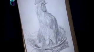 Уроки рисования (№ 14) карандашом. Рисуем курицу-наседку, высиживающую яйца