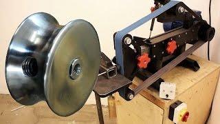 Riemenscheibe mit Eigenbau-Schleifmaschine drehen