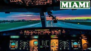 Airbus Cockpit Takeoff - Great Miami Sunset Views!