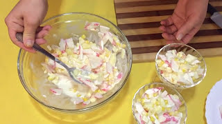 Легкий салат с крабовыми палочками и ананасом ко Дню Рождения | Лучший рецепт 2019