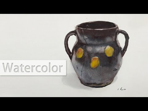 Watercolor technique - lifting colors to paint a ceramic pot