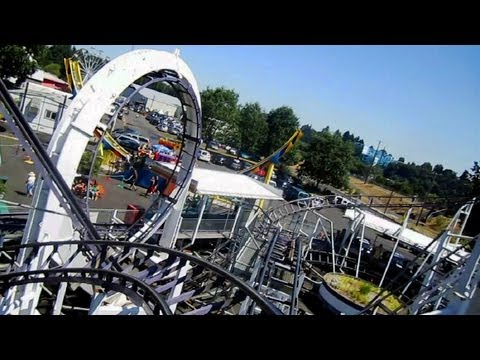 Looping Thunder front seat on-ride HD POV Oaks Amusement Park