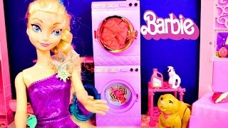 Barbie Glam Laundry Frozen Princess Anna and Elsa Wash Littlest Pet Shop Play Doh Toys Videos