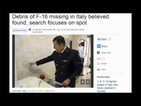 Body of Missing F-16 Pilot Found Near Mediterranean Sea, Adriatic Sea 1/31,2013