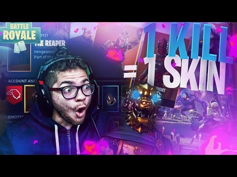 "1 KILL = 1 SKIN FOR THIS LITTLE KID SUBSCRIBER! ""BEST BIRTHDAY EVER"" FORTNITE BATTLE ROYALE! OMG 😱"
