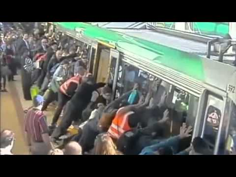 Perth commuters lift train to free man's leg - Australian & Western Greateness