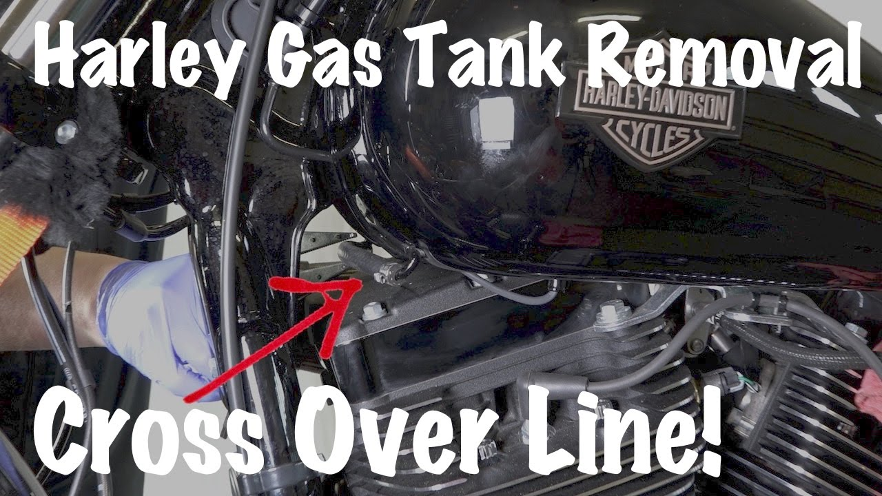 HarleyDavidson Gas Fuel Tank With Cross Over LineHow To Remove  YouTube