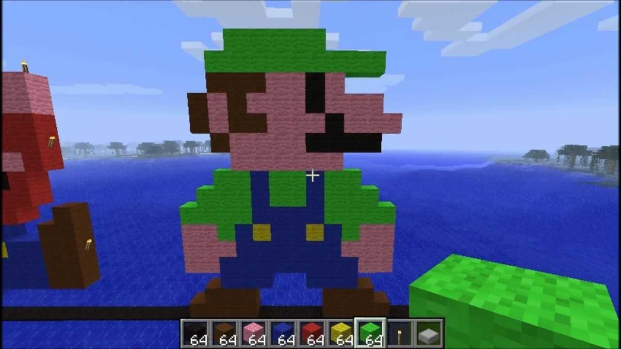 Minecraft Pixel Art Luigi Youtube