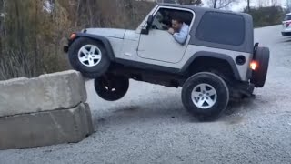 Jeep Tries to Park on a Wall and Flips