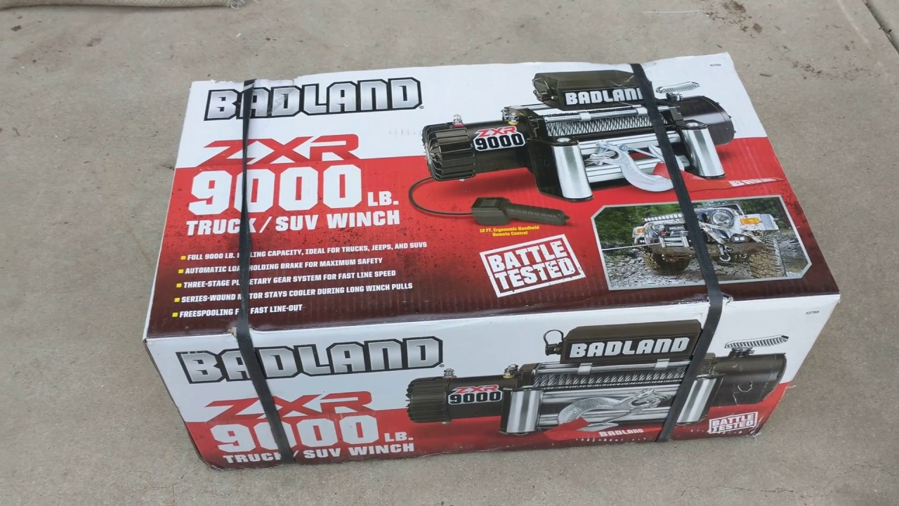hight resolution of badland zxr 9000 lb winch unboxing