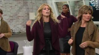 Lisa Rinna Collection Open Front Shawl Collar Wrap Sweater on QVC