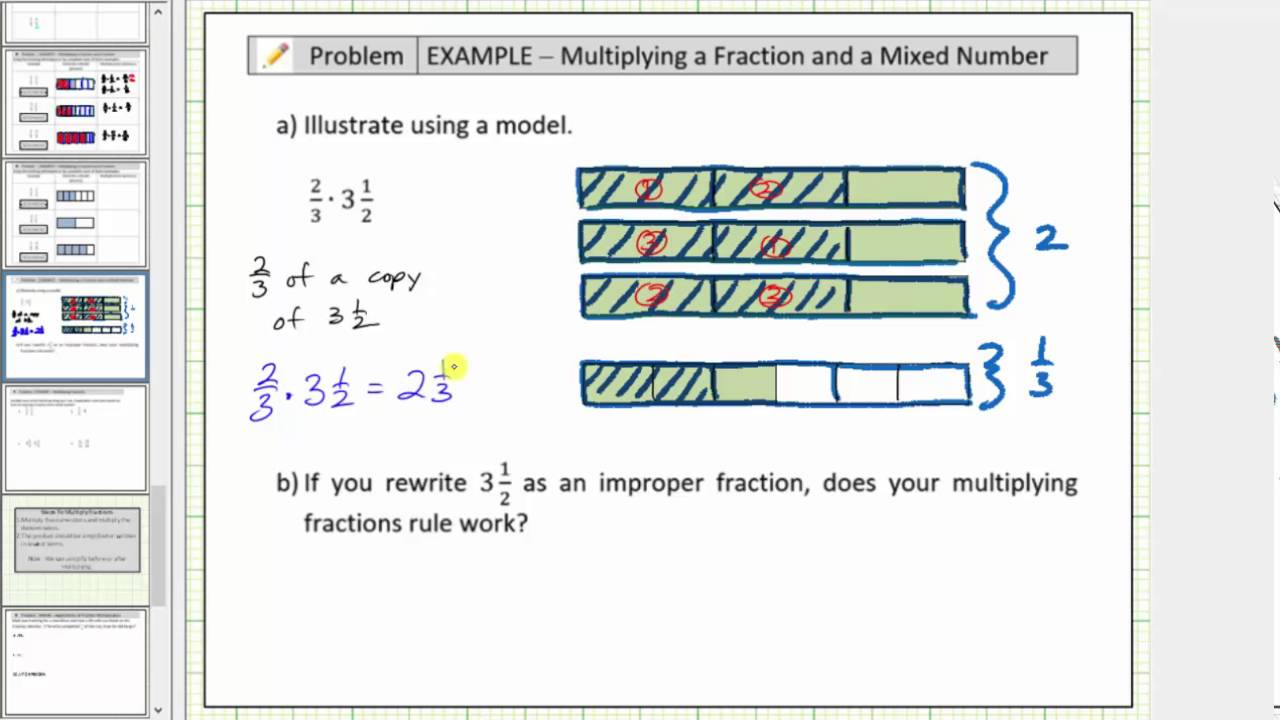 Model The Product Of A Fraction And Mixed Number Using