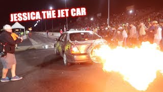Jessica The Jet Car Drives 1000 Miles and WINS Demolition Drag Racing! (Cleetus and Cars Texas)