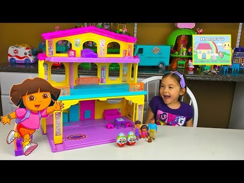 HUGE NICKELODEON DORA DOLLHOUSE TOY Princess Magic Kinder Surprise Eggs Kids Toys Opening & Unboxing