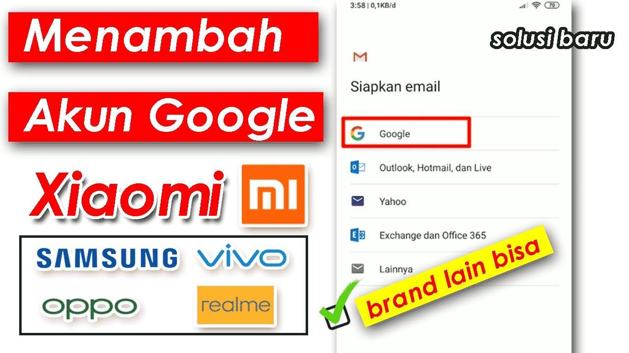 Cara Menambah Akun Google Di Hp Xiaomi Email Gmail Baru Youtube