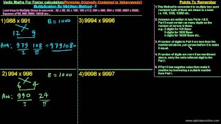 Faster Multiplication By Vedic 'NIKHILAM' Method - 2/5
