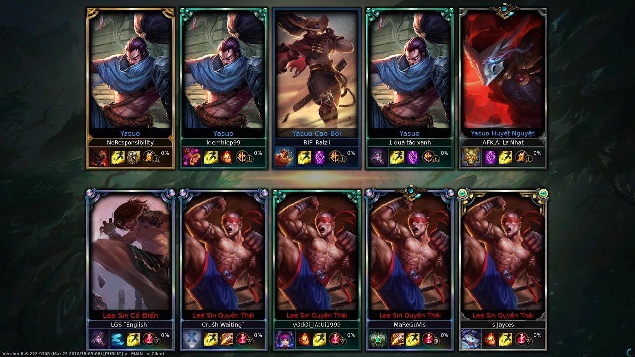 5 Lee sin VS 5 Yasuo One For ALl gạ kèo đập nhau ^^