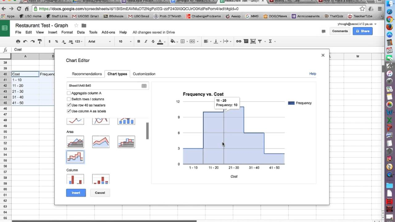 Creating A Histogram In Google Sheets Youtube